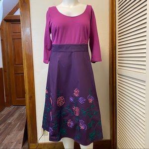 New eShakti Pink and Purple Embroidered Dress